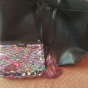 Victoria secret pink tote with sequined bag